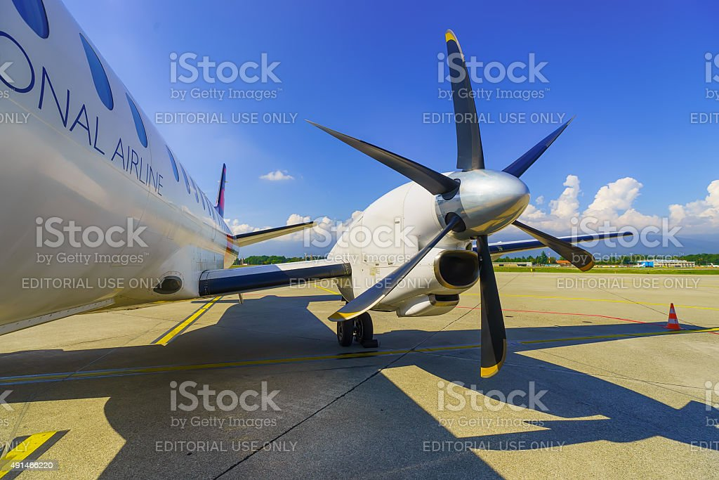 Twin-engined high-speed turboprop airliner stock photo