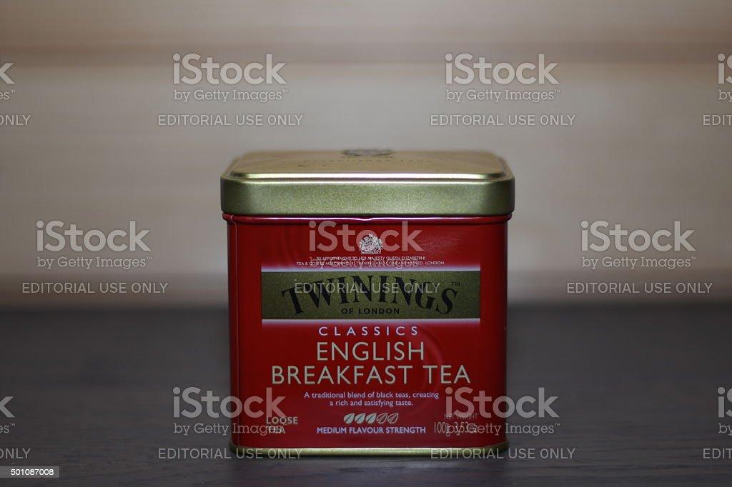 Twinings english breakfast tea stock photo