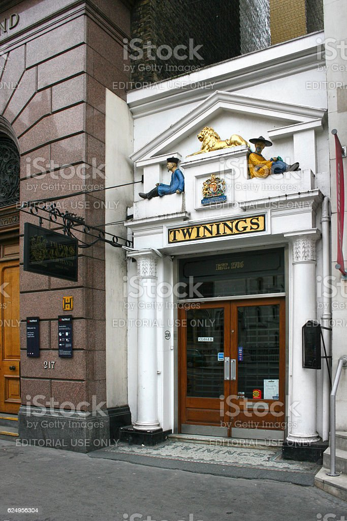 Twinings' shop on the Strand stock photo