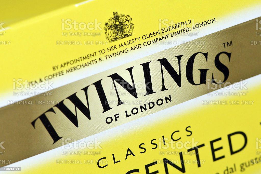 Twinings Tea logo on lemon scented stock photo