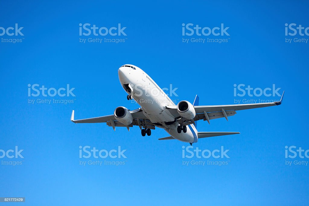 Twinjet narrow-body airliner stock photo