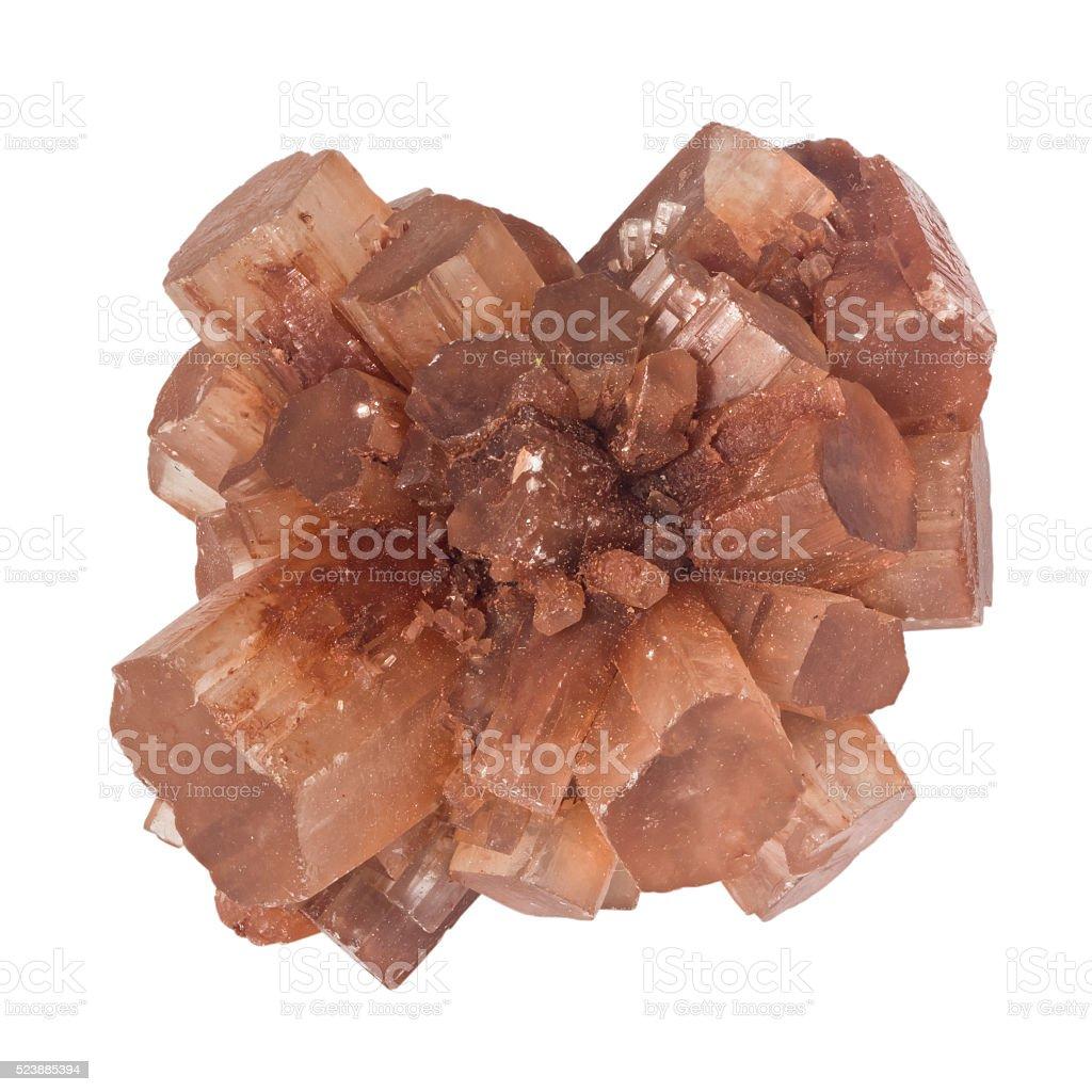 Twinned aragonite crystal macro isolated on white background stock photo