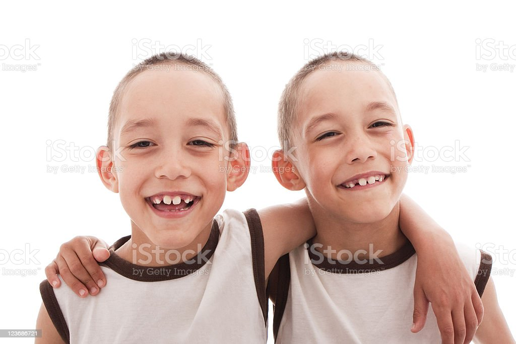 twins isolated royalty-free stock photo