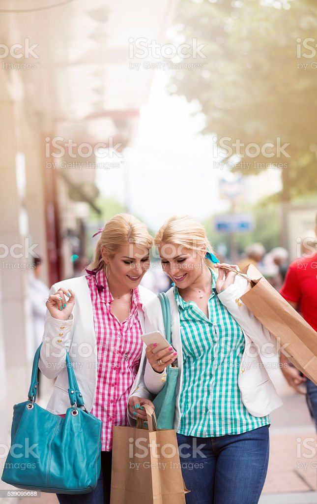 Twins shopping stock photo
