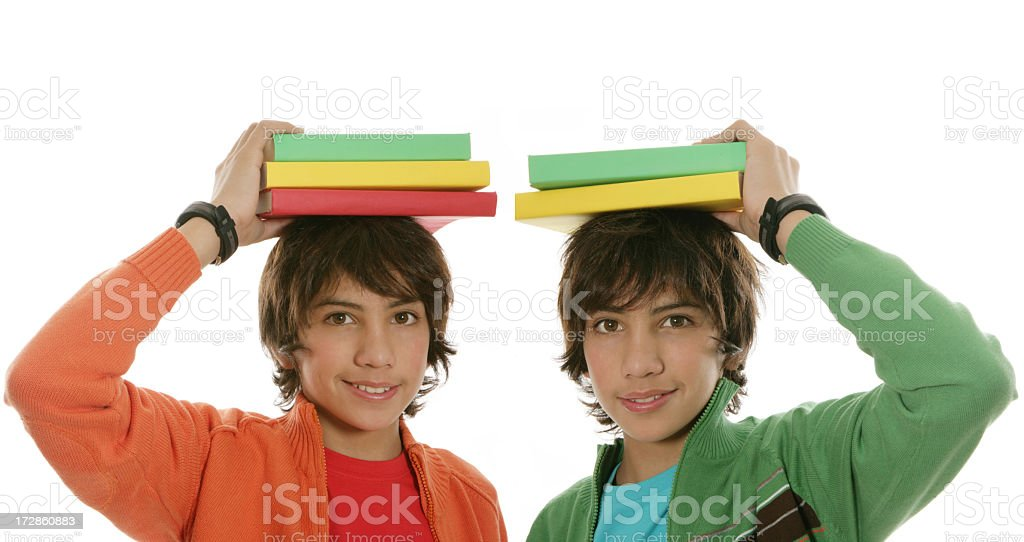 Twins with books royalty-free stock photo