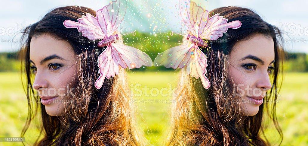 Twins, zodiac sign twins, astrology,summer woman portrait stock photo