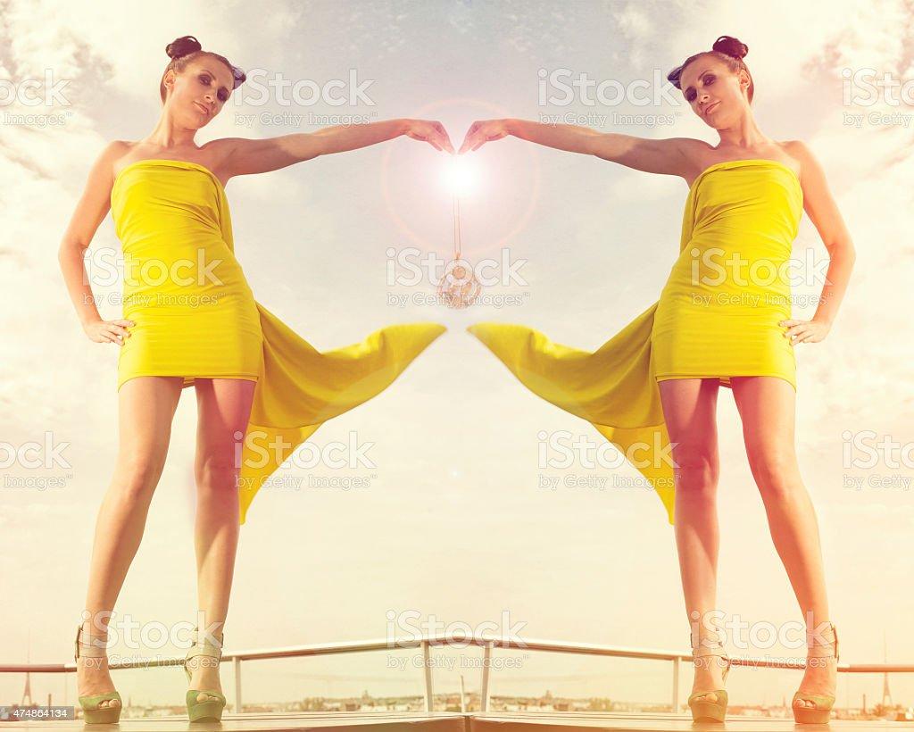 Twins   ,zodiak sign stock photo