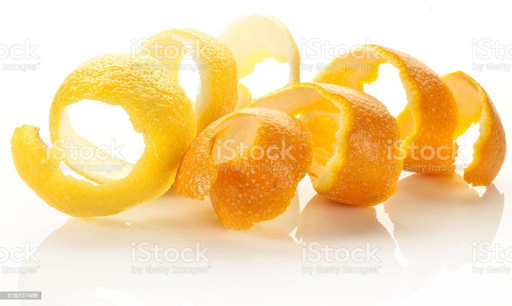 Twist of citrus peel. stock photo