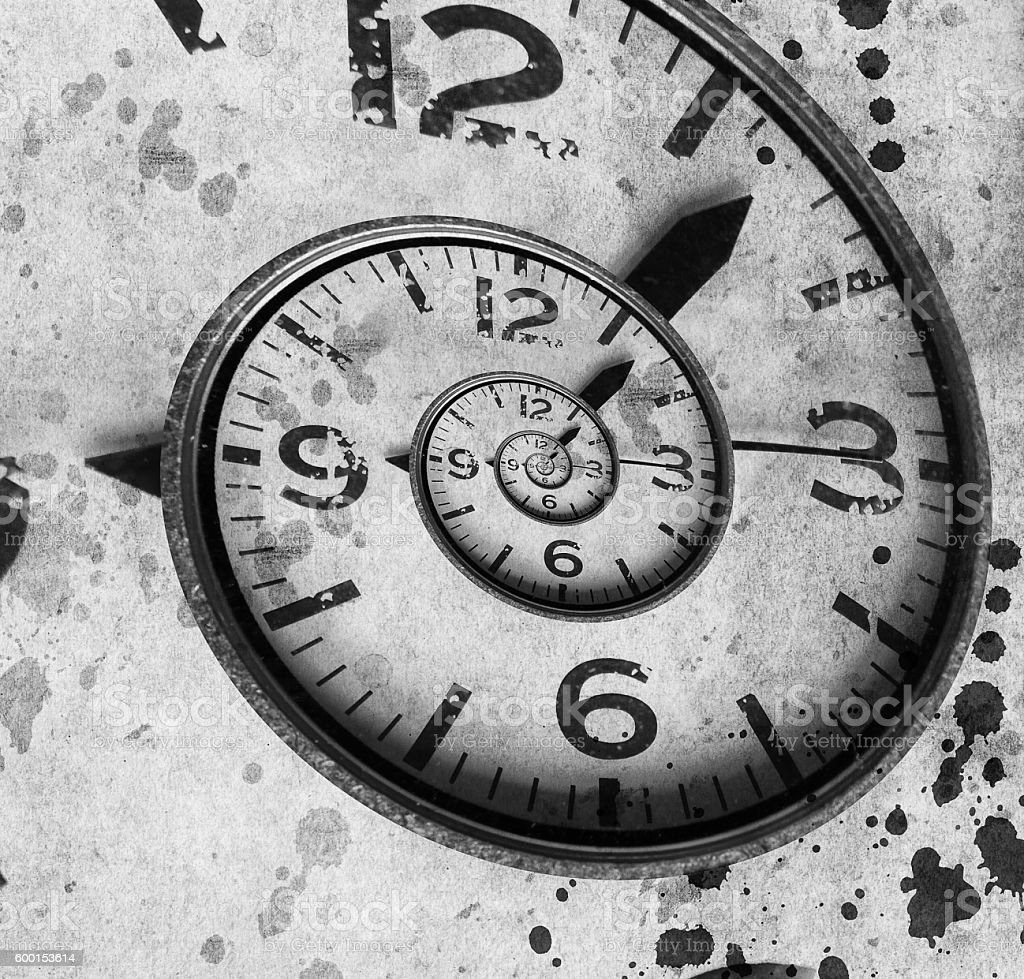 Twisted clock face. Time concept stock photo