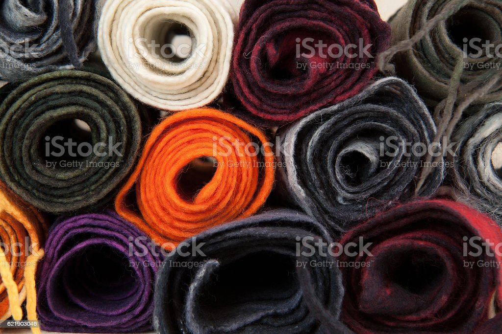 twisted folded woolen scarves stock photo