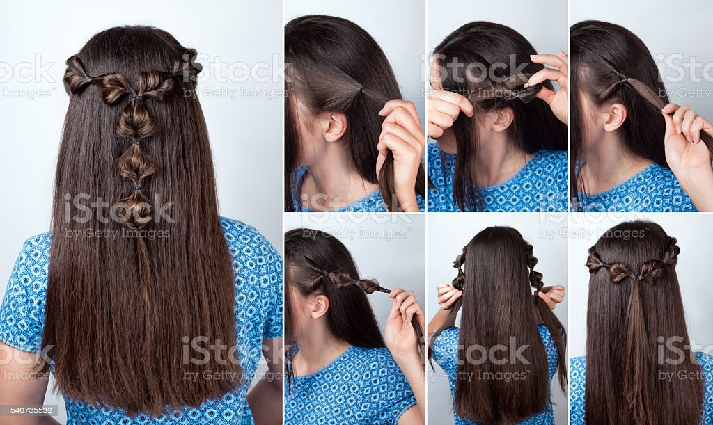 twisted hairstyle tutorial for long hair stock photo