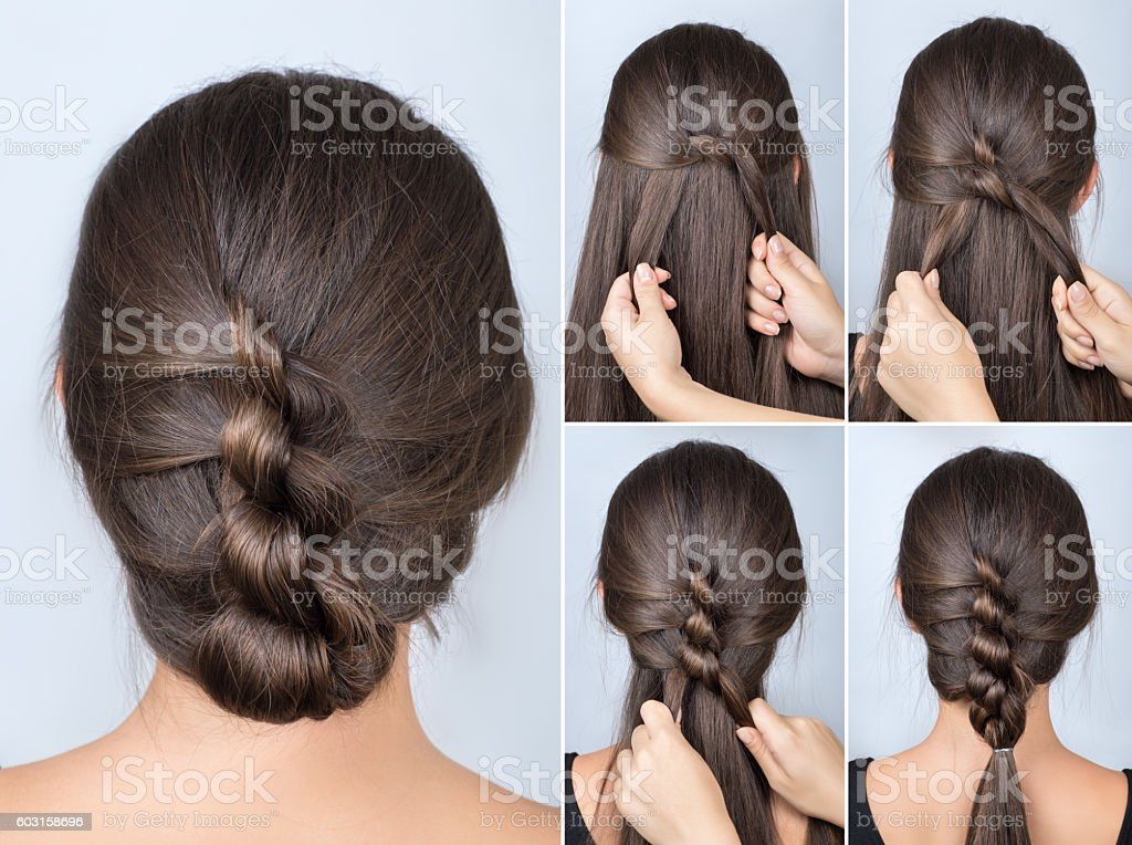 twisted hairstyle tutorial stock photo