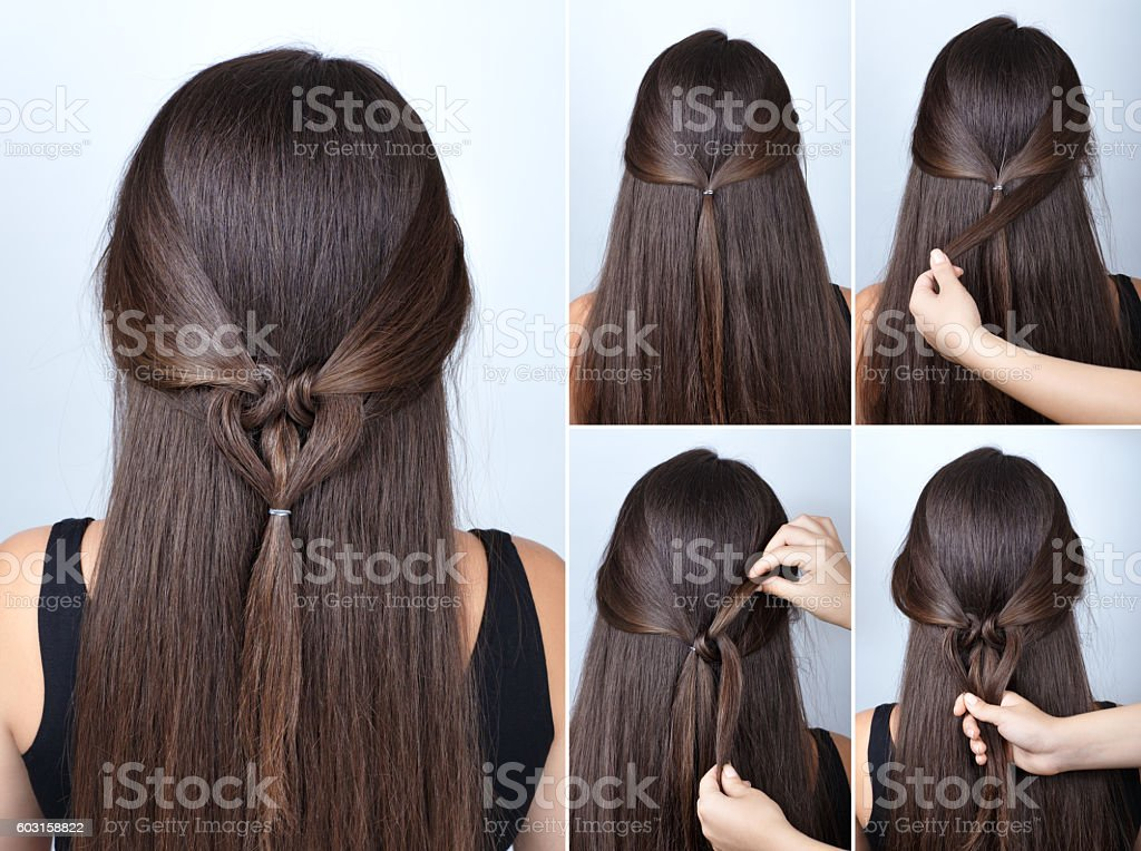 twisted heart hairstyle tutorial for long hair stock photo
