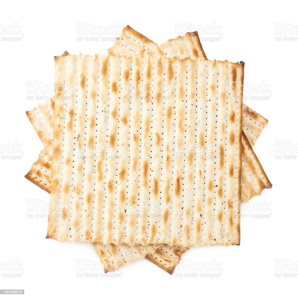 Twisted pile of multiple matza flatbreads stock photo