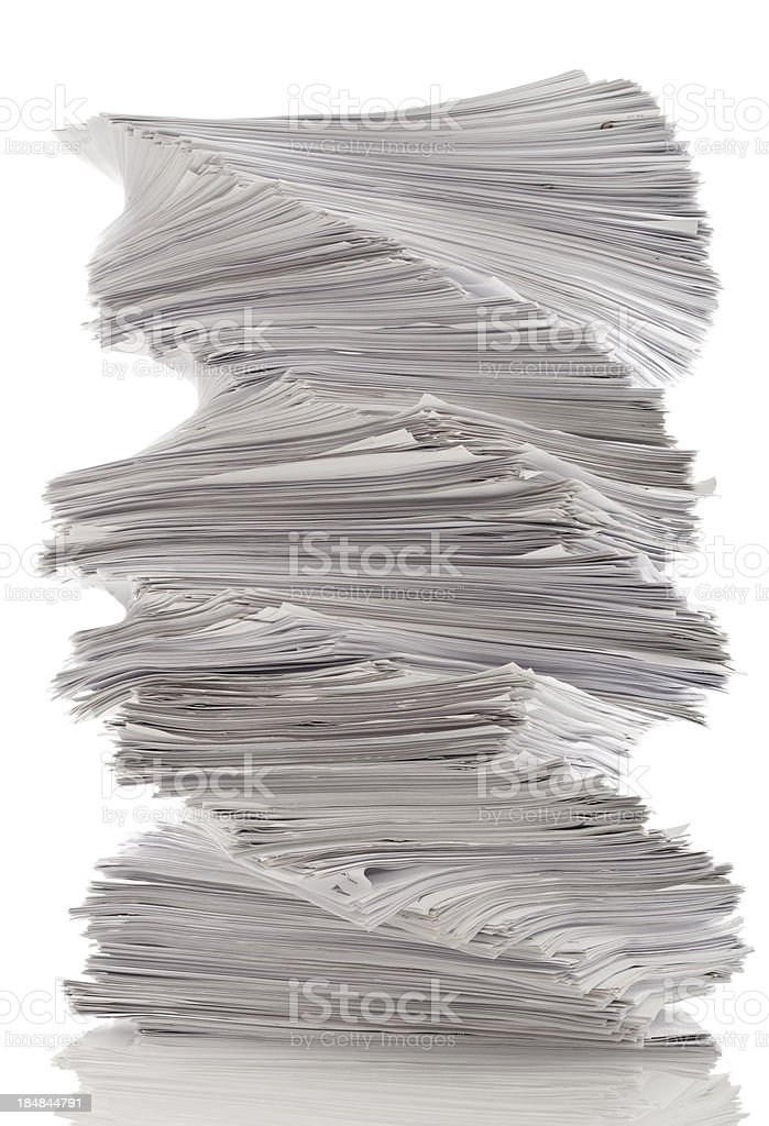 Twisted pile of work papers. royalty-free stock photo