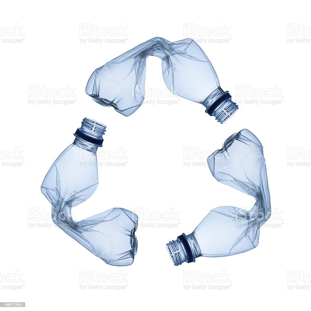 Plastic Bottle Recycling Twisted Plastic Bottles In The Shape Of The Recycling Symbol Stock