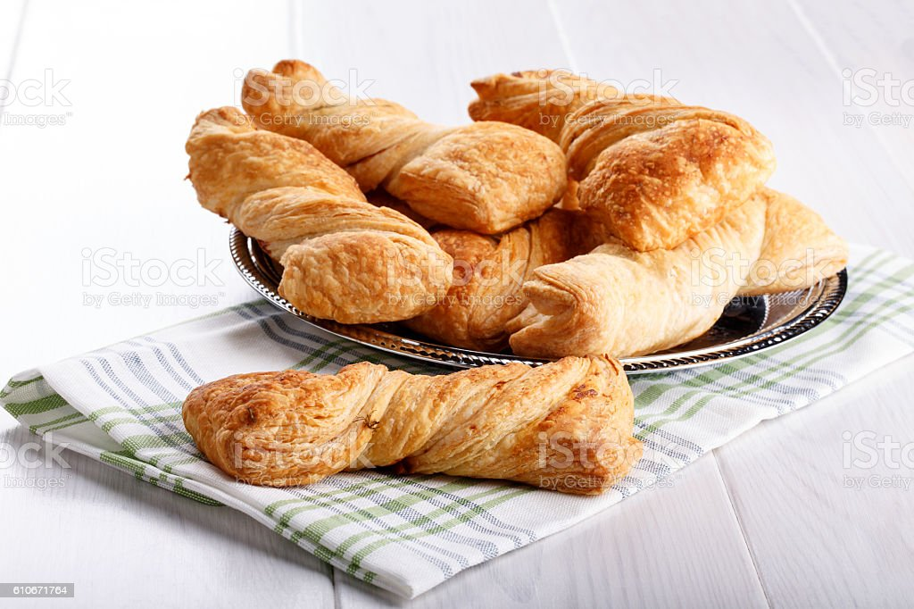 Twisted puff pastry stock photo
