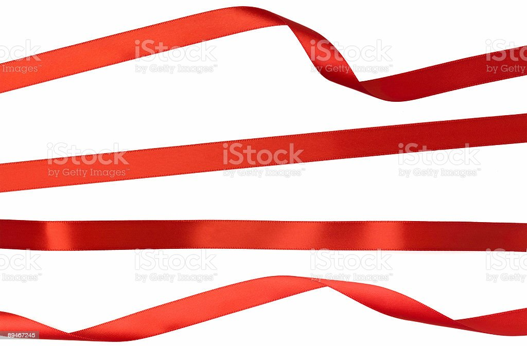 Twisted Straight and Curled Red Isolated Ribbon Strips on White royalty-free stock photo