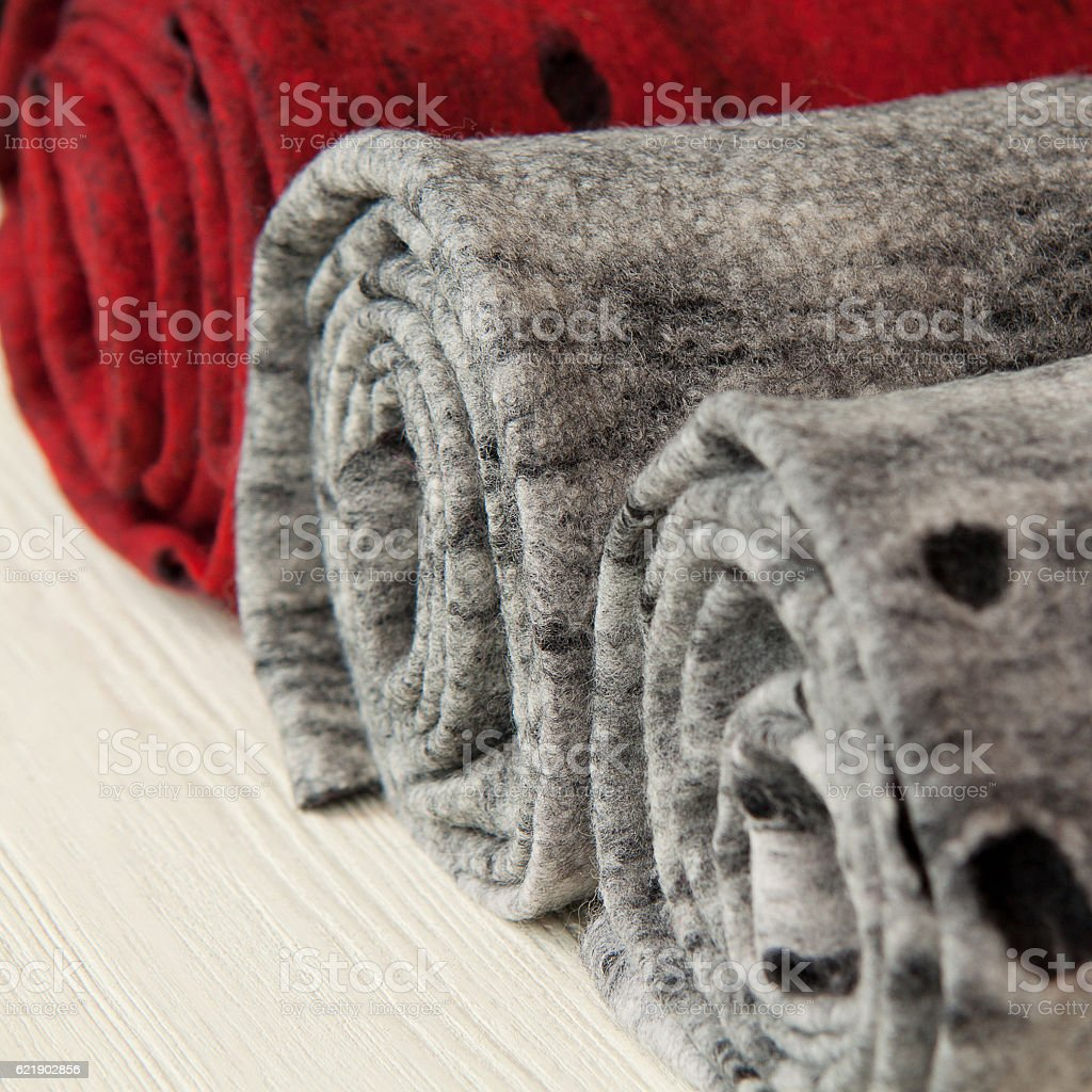 twisted woolen scarves, stoles stock photo