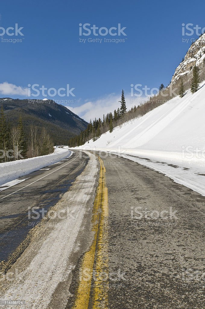 Twisty highway in the mountains stock photo