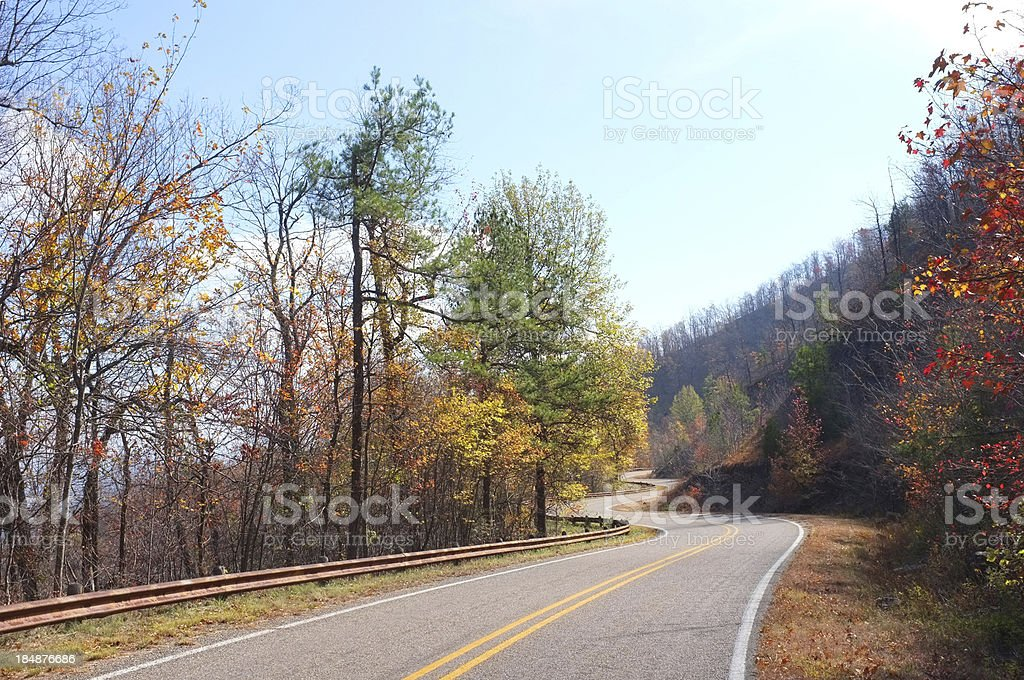 Twisty road in rural Arkansas royalty-free stock photo