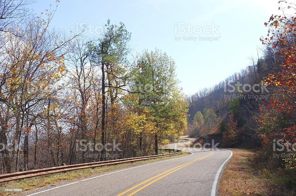 Twisty road in rural Arkansas stock photo