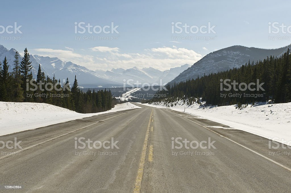 Twisty road in the Canadian Rockies royalty-free stock photo