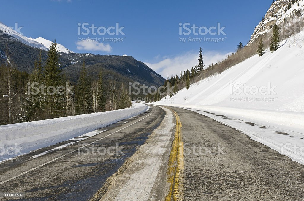 Twisty road in the Rockies royalty-free stock photo