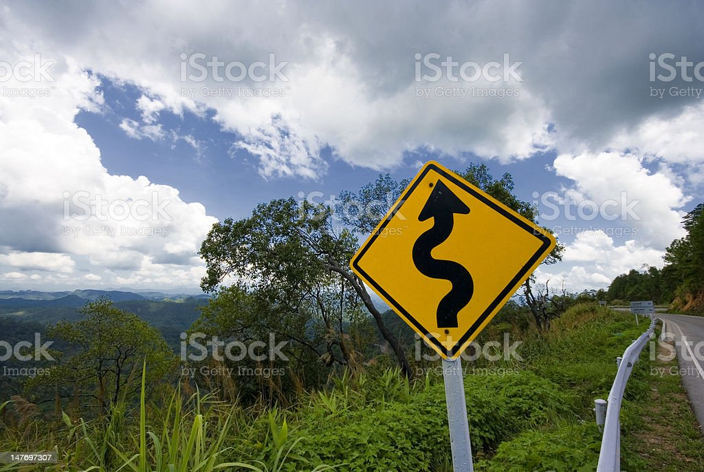 Twisty road sign royalty-free stock photo