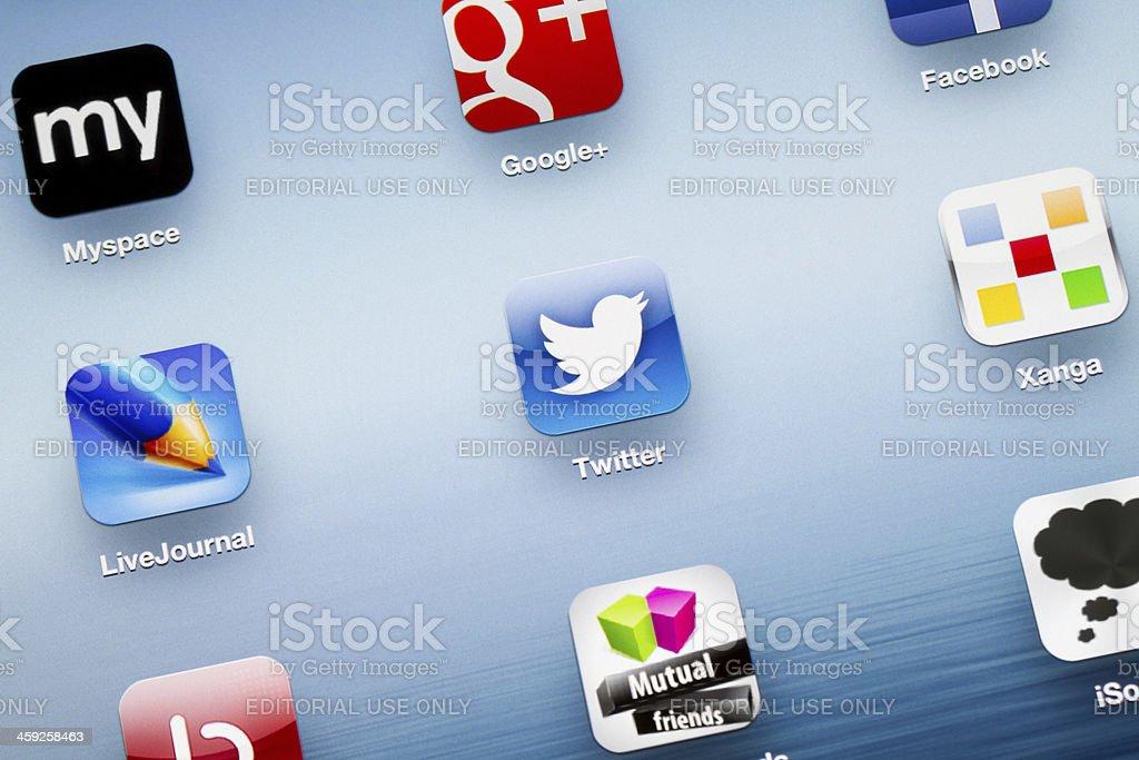 Twitter App icon on New iPad royalty-free stock photo