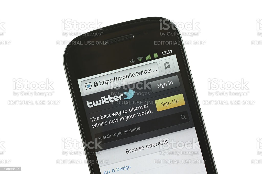 Twitter mobile site stock photo