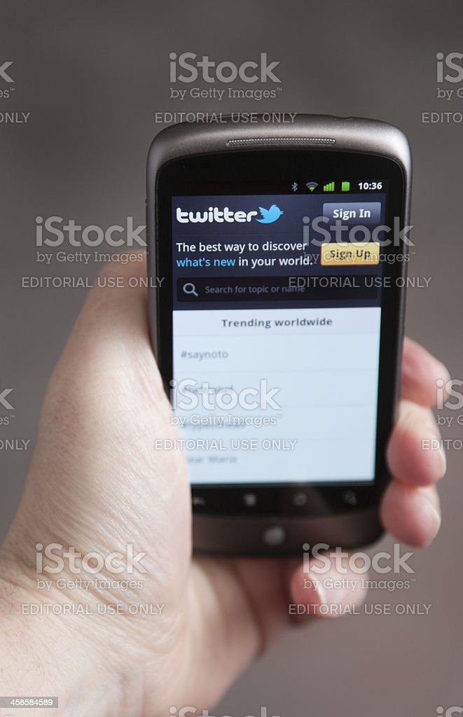 Twitter on an Android Phone stock photo