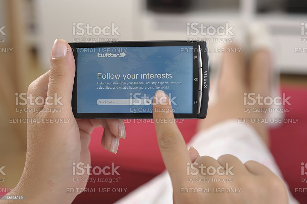 Twitter on smart phone royalty-free stock photo