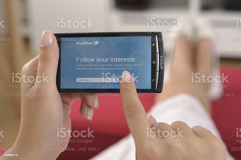 Twitter on smart phone stock photo