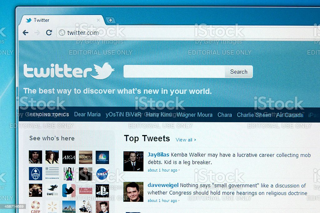 Twitter popular social media website royalty-free stock photo