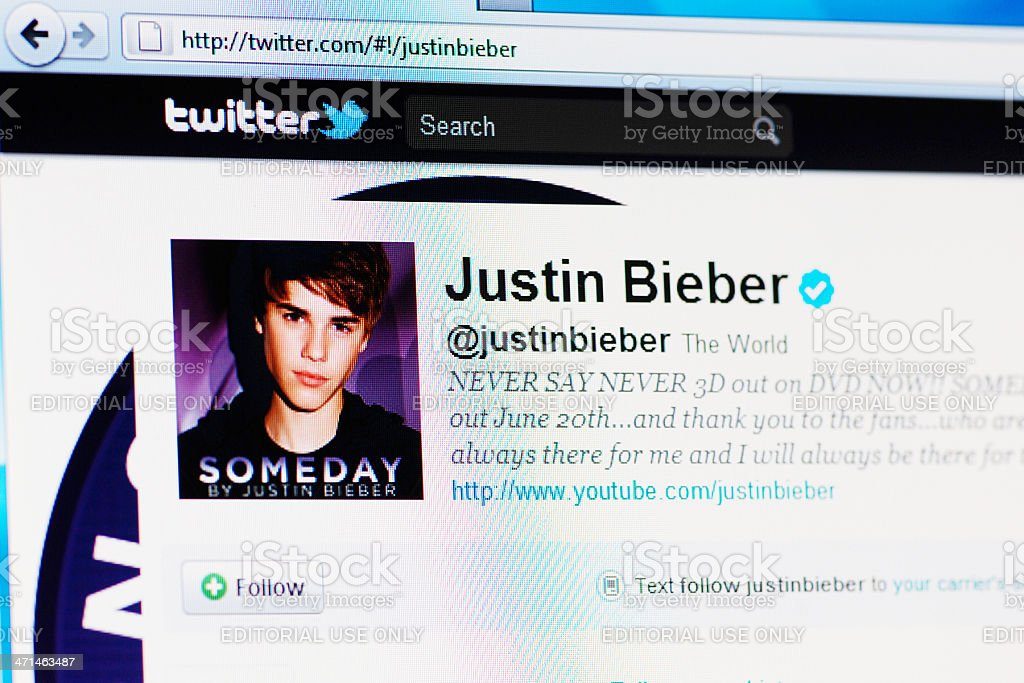 Twitter profile page of Justin Bieber on RGB laptop monitor stock photo
