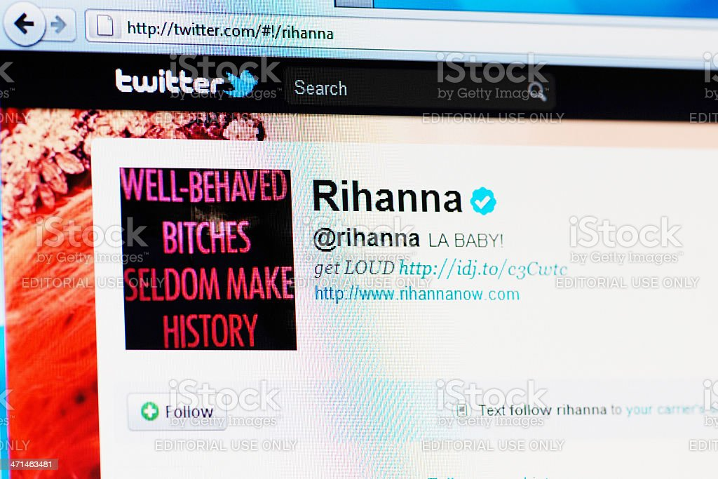 Twitter profile page of Rihanna on RGB laptop monitor stock photo