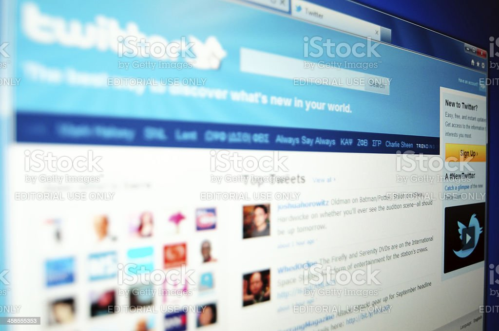 Twitter site start page stock photo