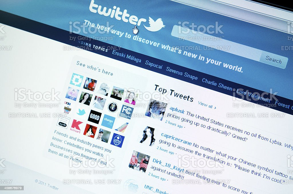Twitter.com site on laptop screen royalty-free stock photo