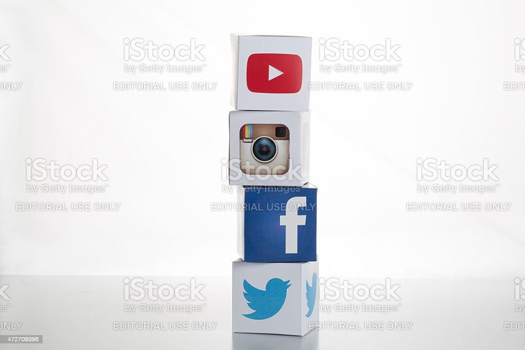 Twitter,Facebook,Instagram,Youtube Logos on Cubes stock photo