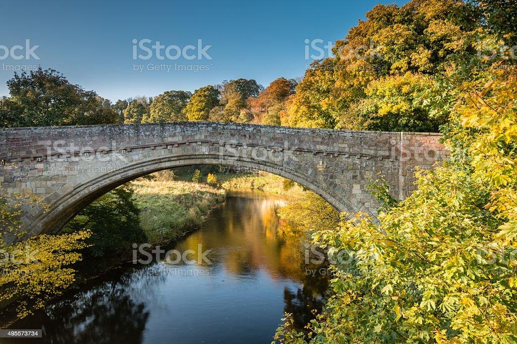 Twizel Bridge in Autumn stock photo