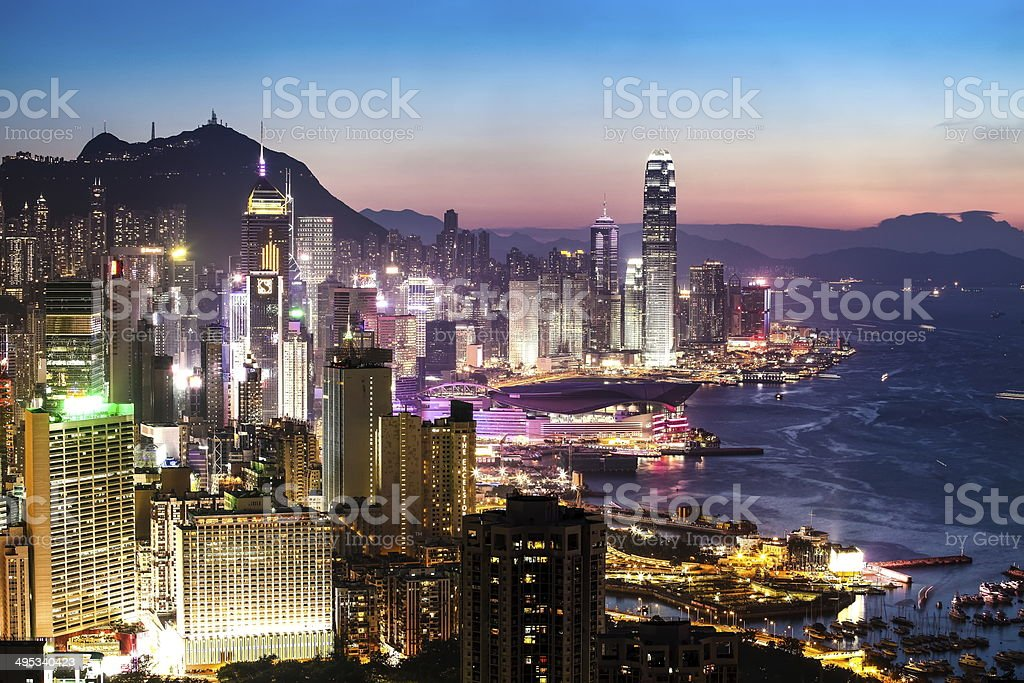 Twlight of Hong Kong Island stock photo