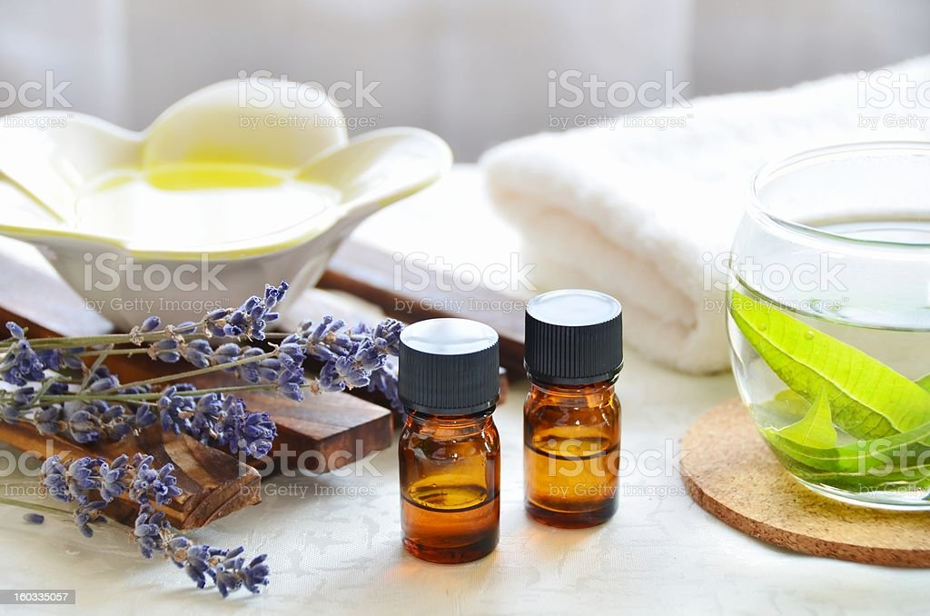 Two 10ml bottles of aromatherapy treatment liquids stock photo