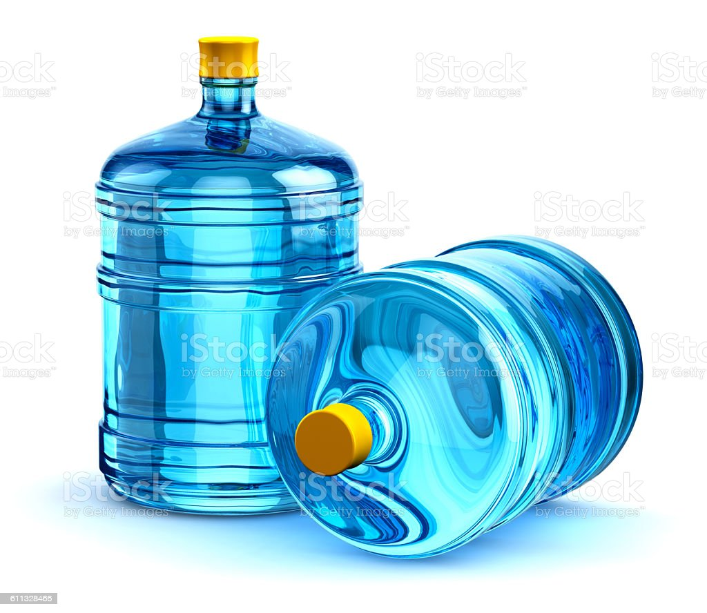 Two 19 liter or 5 gallon plastic drink water bottles stock photo