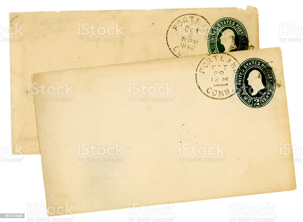 Two 19th century envelopes from Portland, Connecticut royalty-free stock photo
