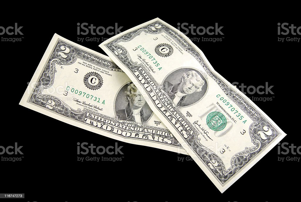 Two 2 Dollar Bills stock photo