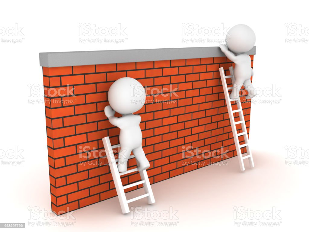 Two 3D Characters, one manages to climb over wall another one can't stock photo