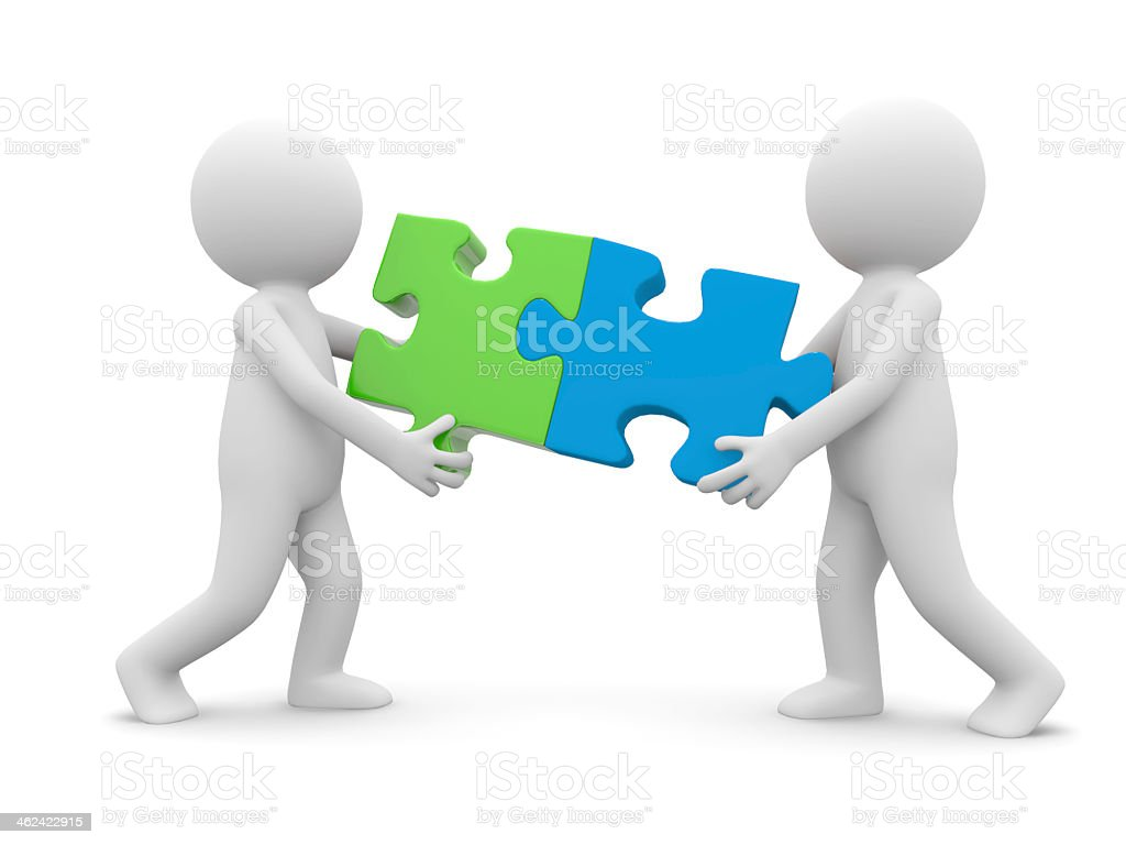Two 3D figurines holding fitting puzzle pieces stock photo