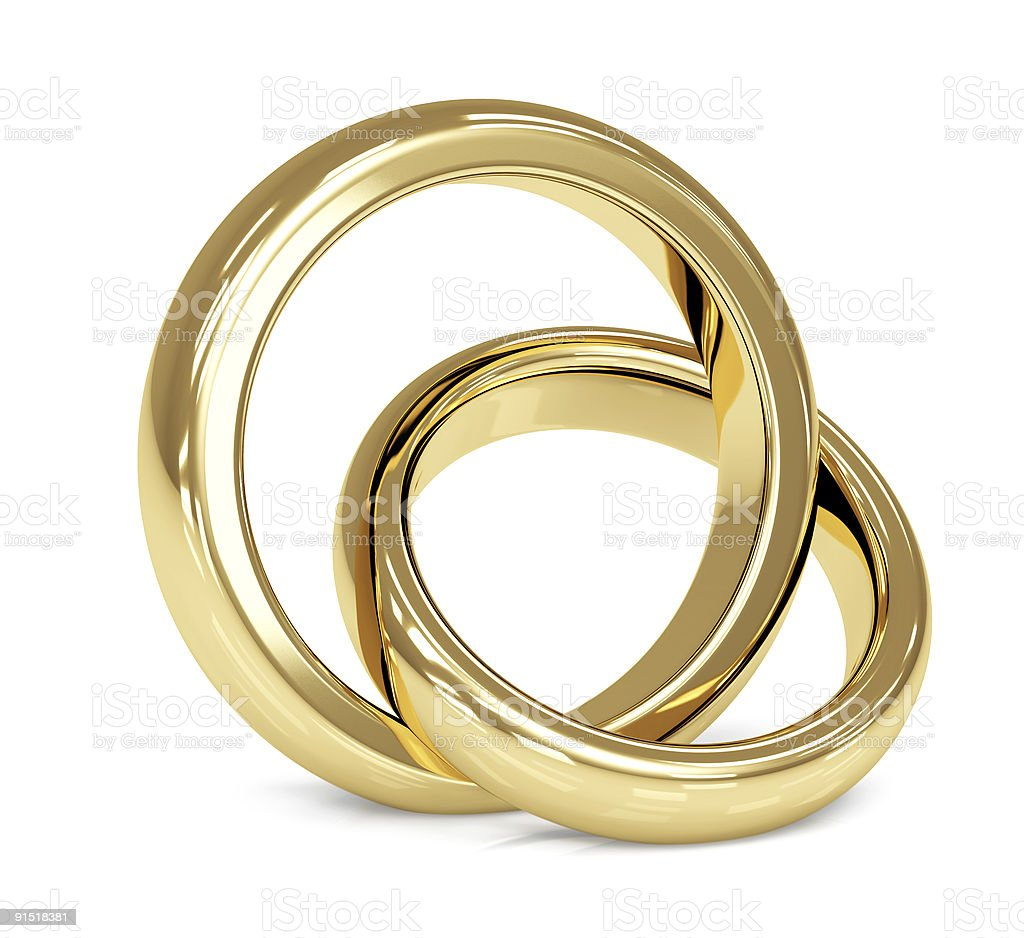 Two 3d gold wedding ring stock photo
