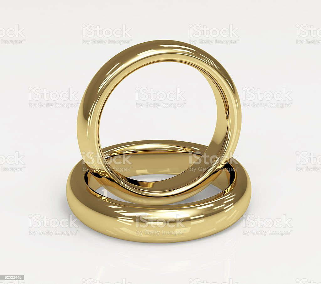 Two 3d gold wedding ring royalty-free stock vector art